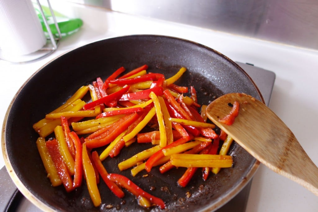 Stir fry bell peppers or capsicum