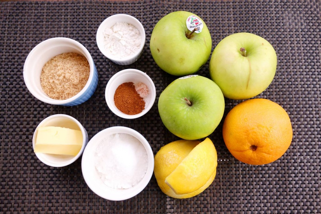mini apple crumble ingredients line up