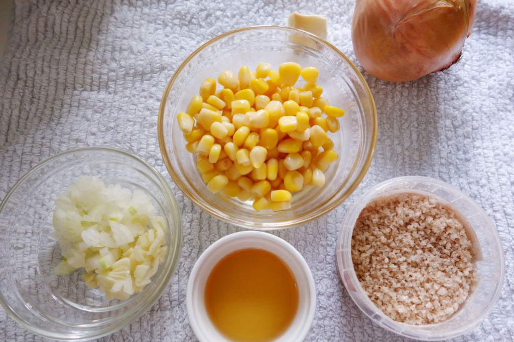 Ingredients for corn puree