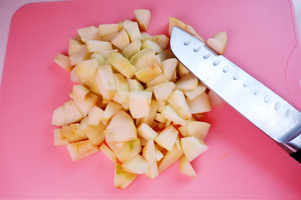 Granny Smith Apples being cut into small bite size