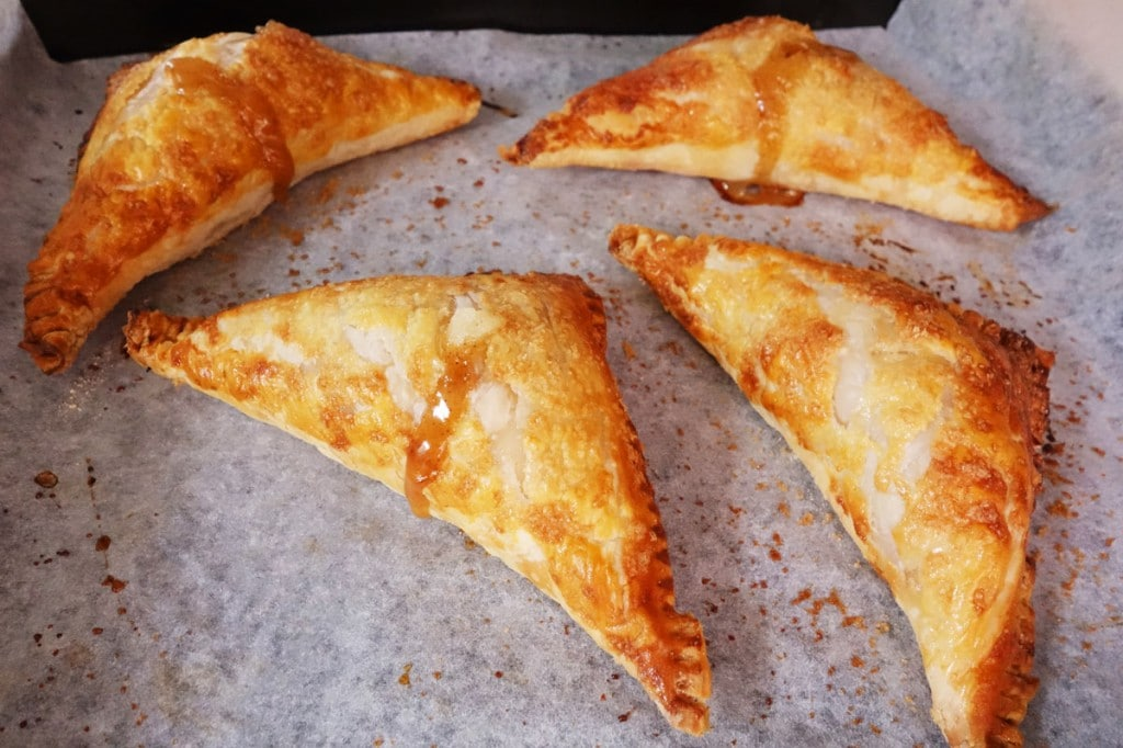 Baked crispy apple turnovers Piping hot!