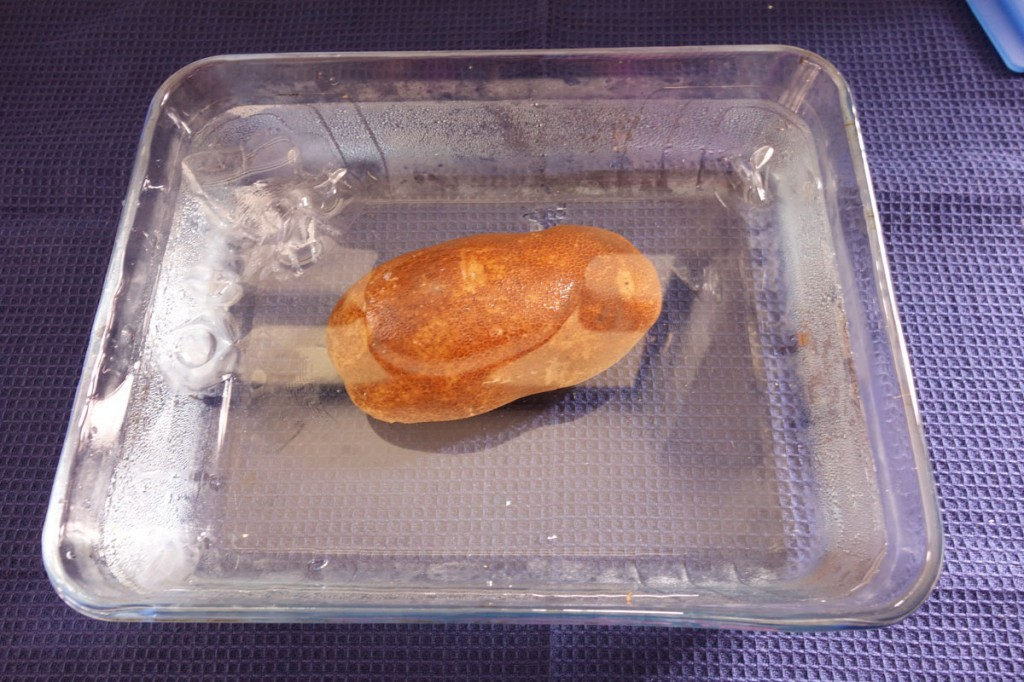 Rotate the potato around if the water does not cover it completely
