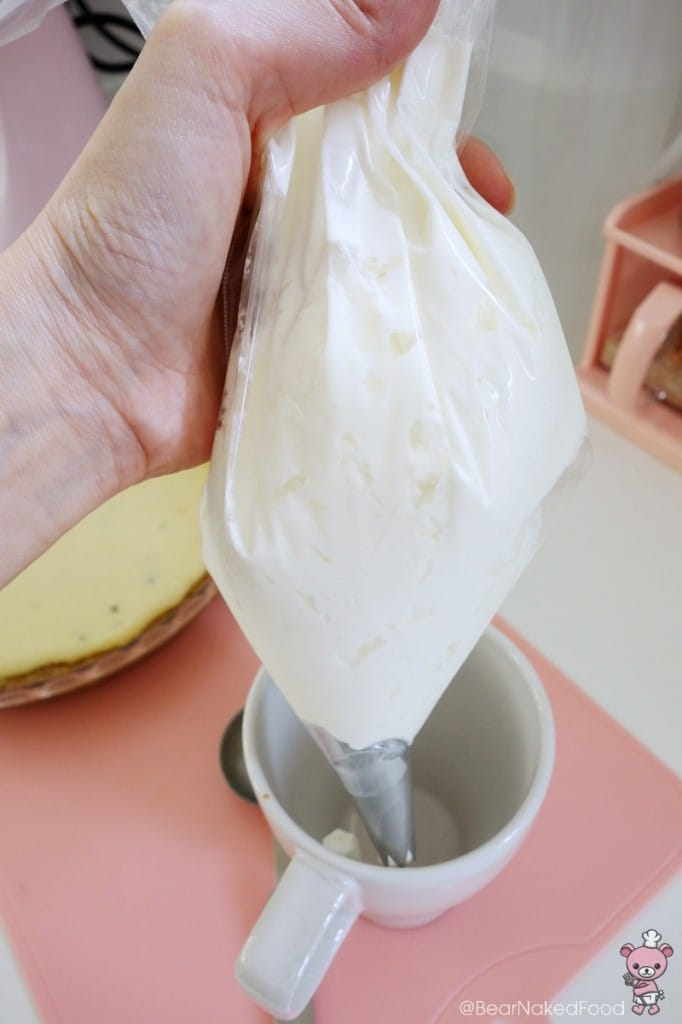 homemade piping bag with whipped cream