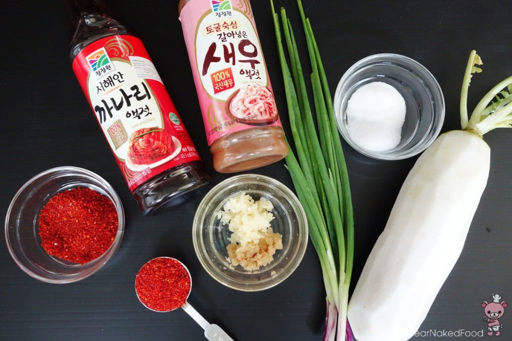 ingredients for radish kimchi