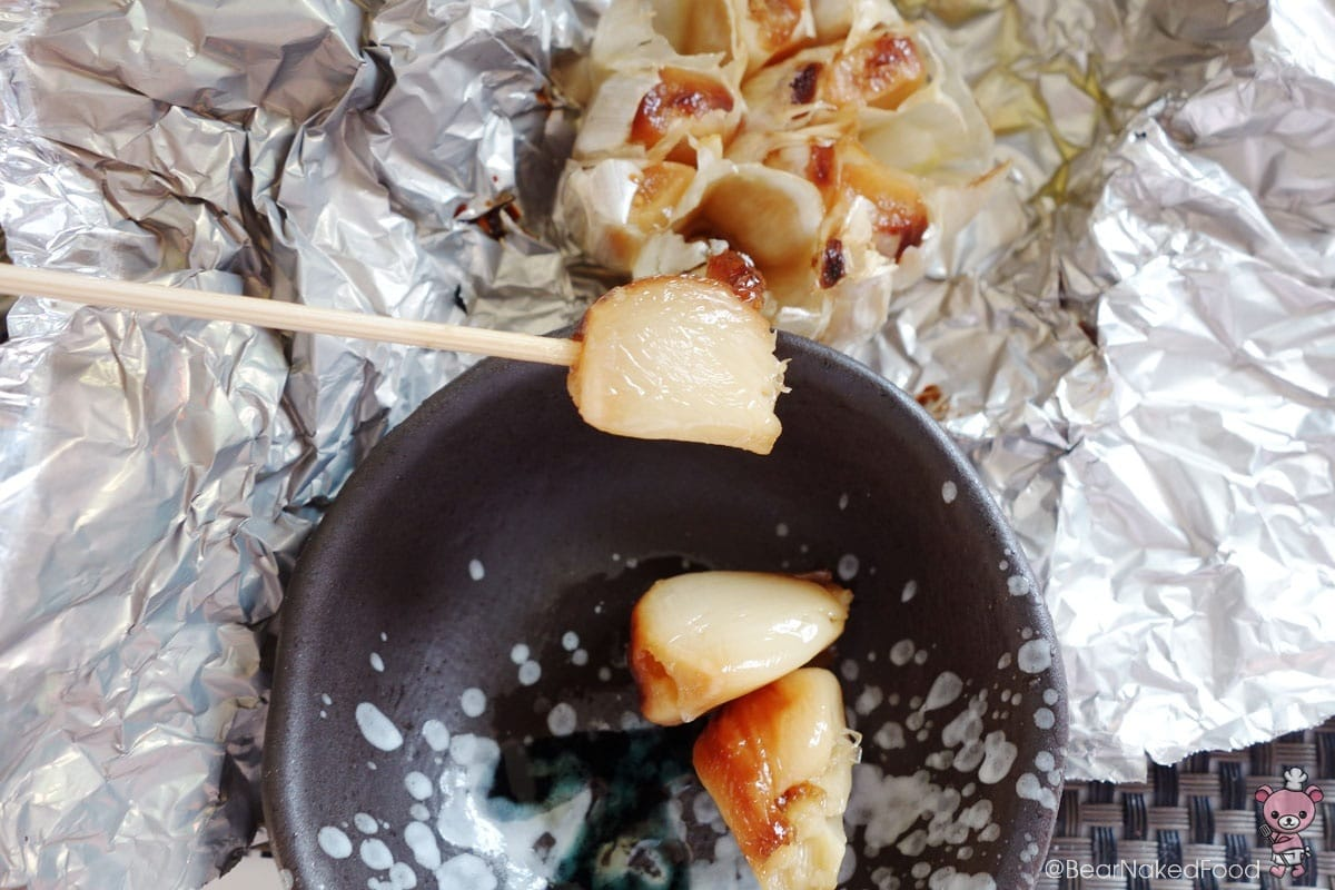 I used a skewer to pick out the garlic flesh.