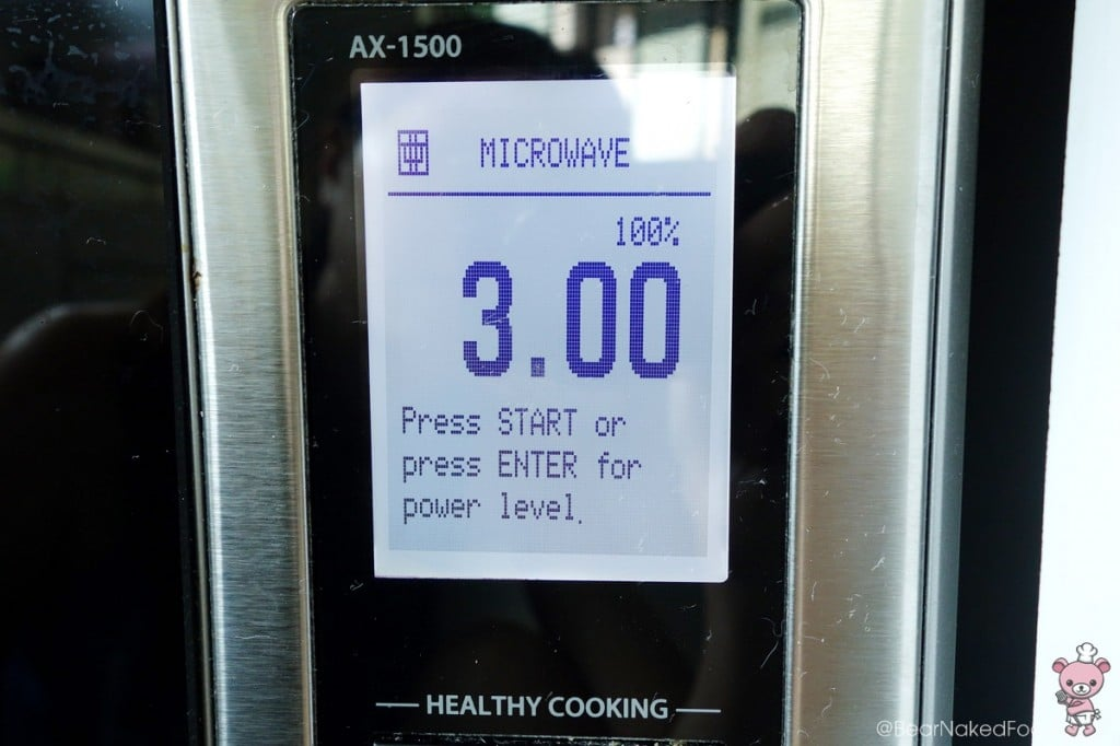 Different microwaves vary, you could set it anytime between 2 1/2 mins to 3 1/2 mins.