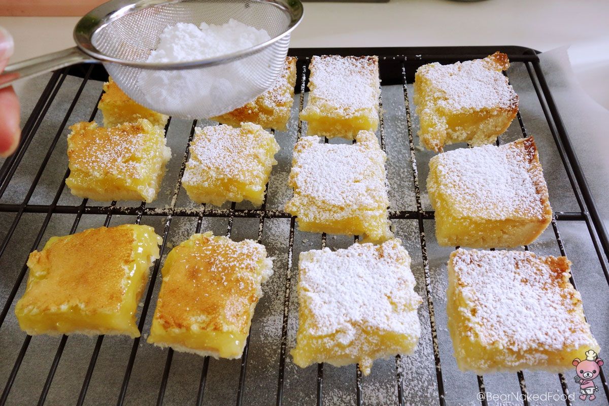 lemon squares dusted with confectioners' sugar