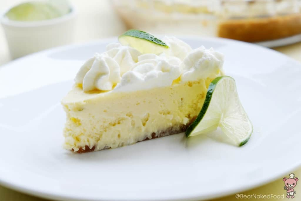 key lime pie with lime slices