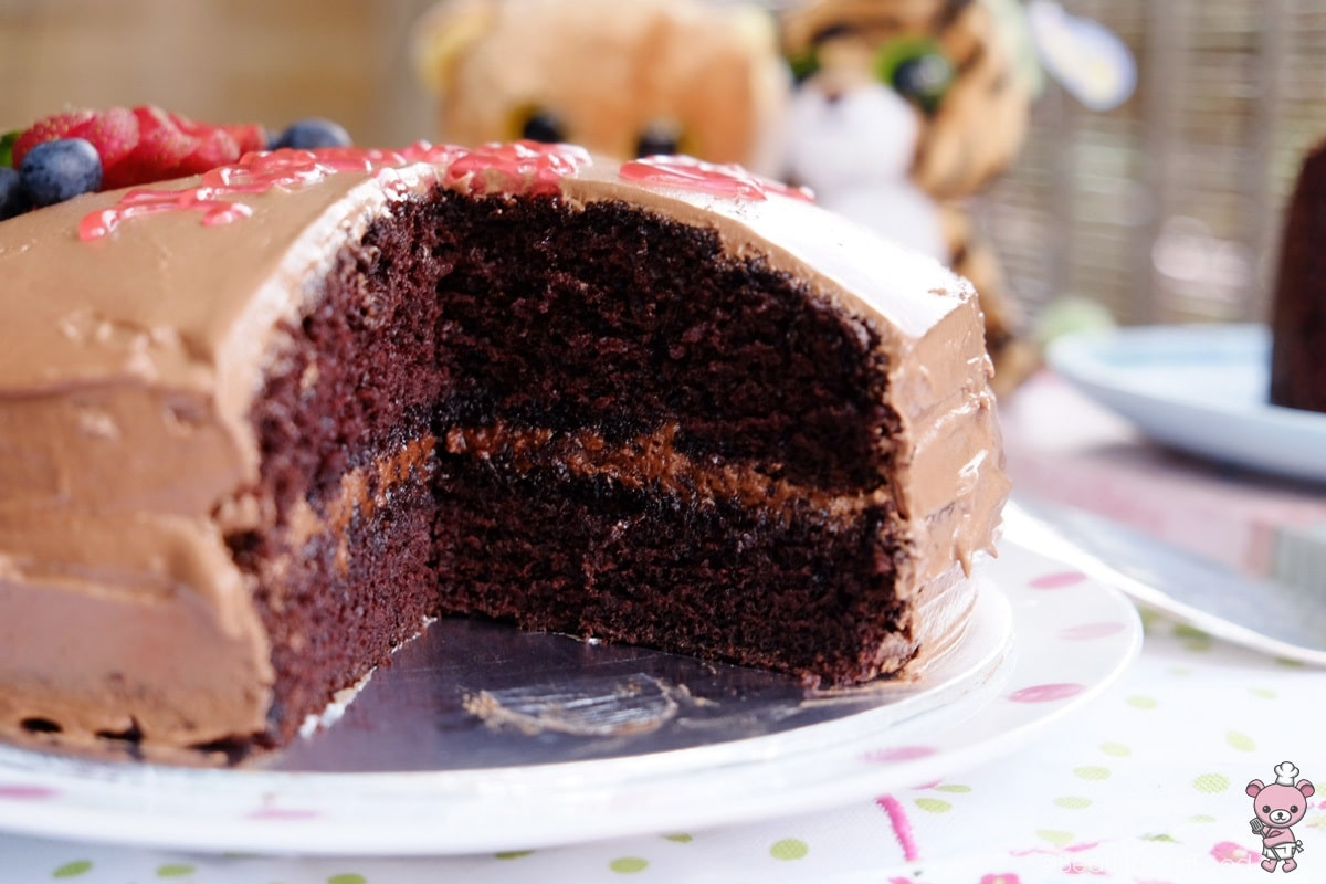 moist chocolate cake with frosting