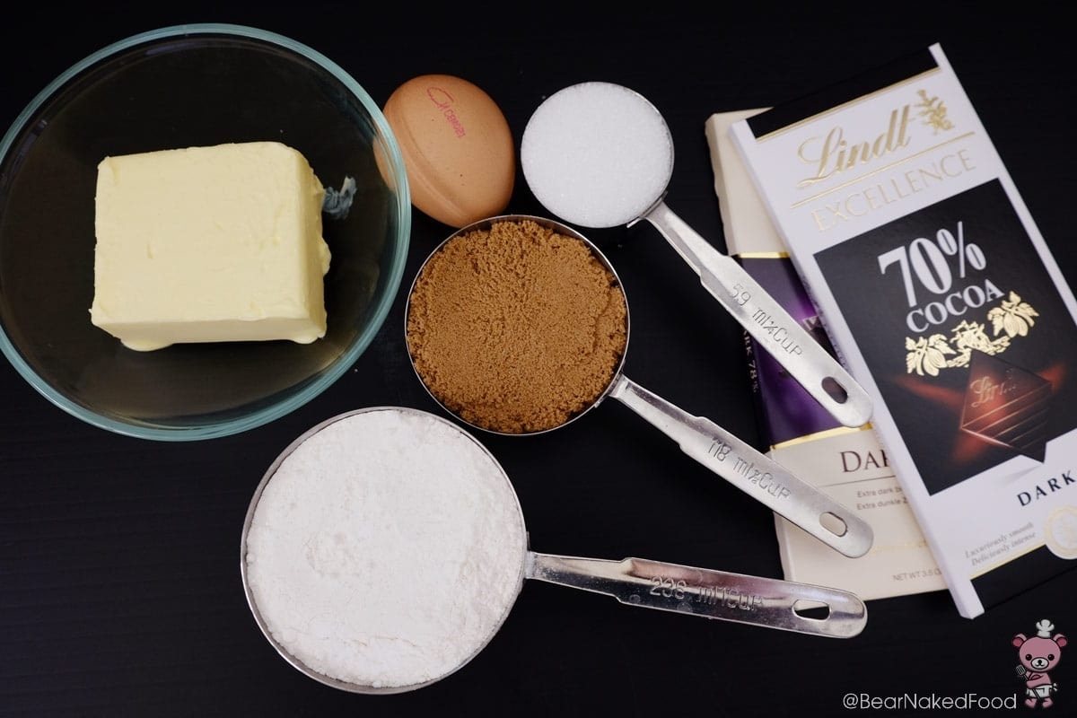 ingredients for chocolate chunk cookies
