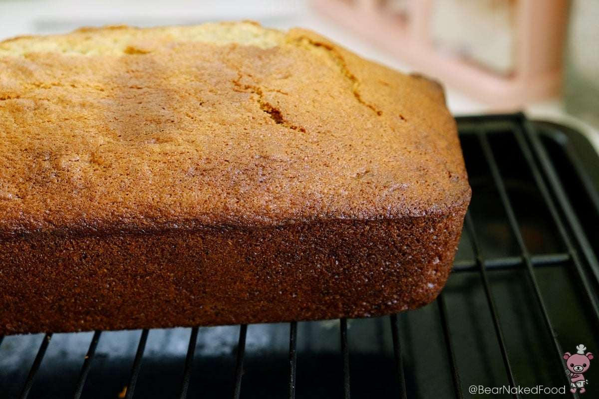 banana cake on cooling rack