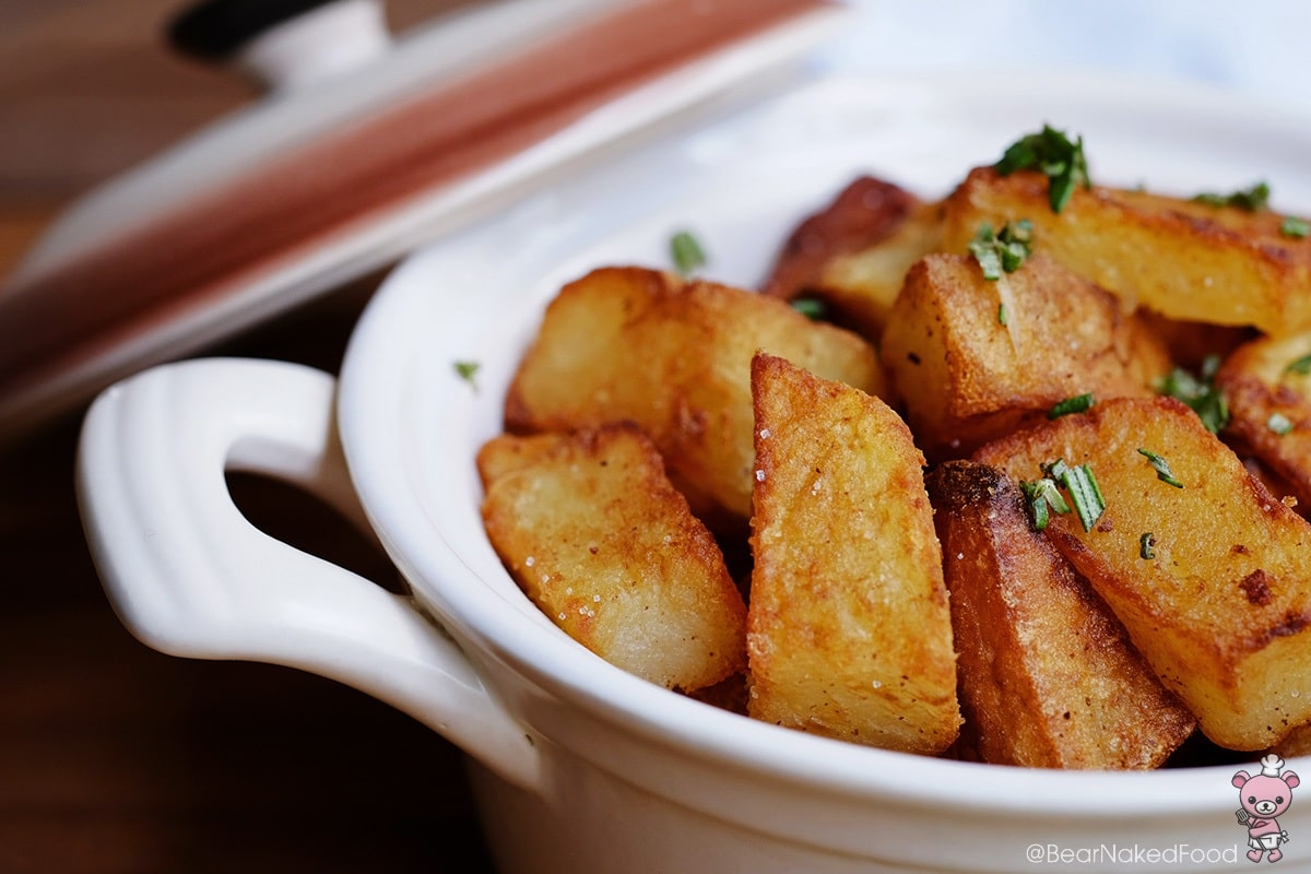 crispy duck fat potatoes with rosemary