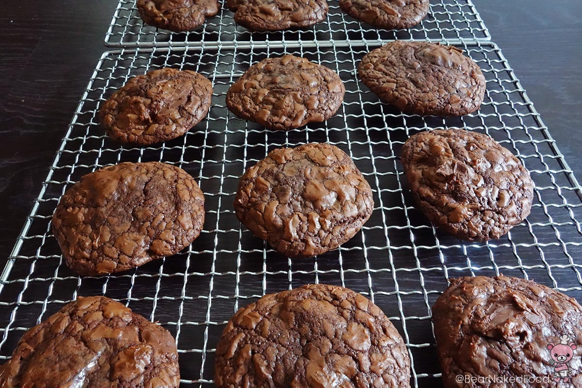 outrageous chocolate cookies on a cooling rack