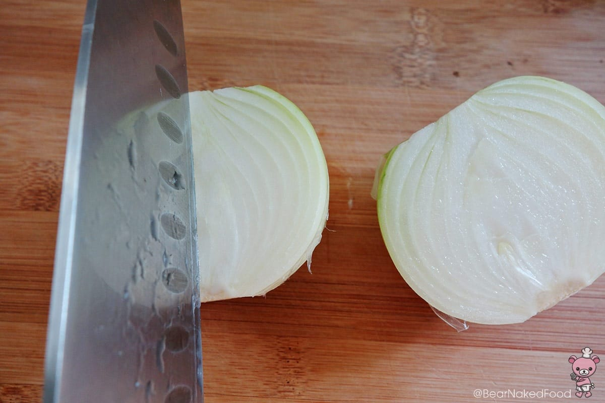 cutting yellow onion