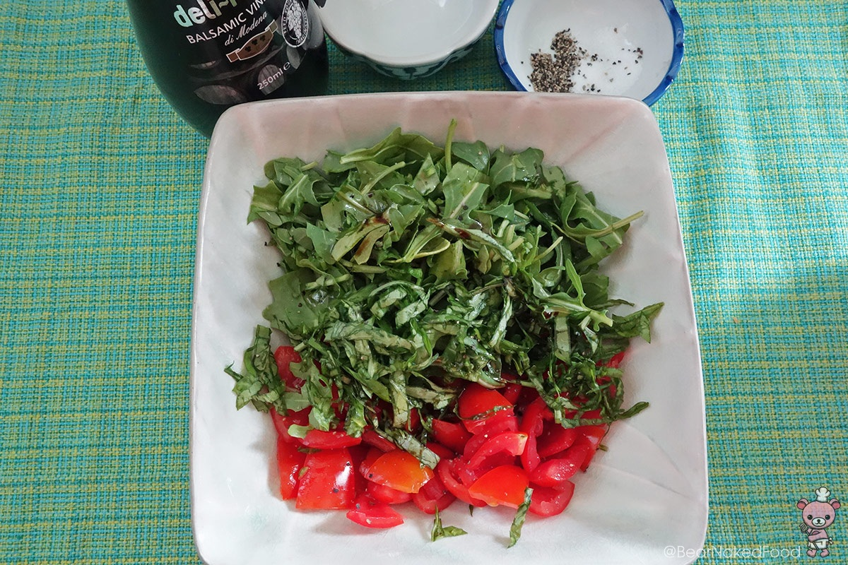 tomato, basil and rocket leaves