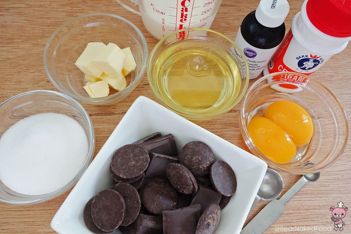 Ingredients for dark chocolate mousse