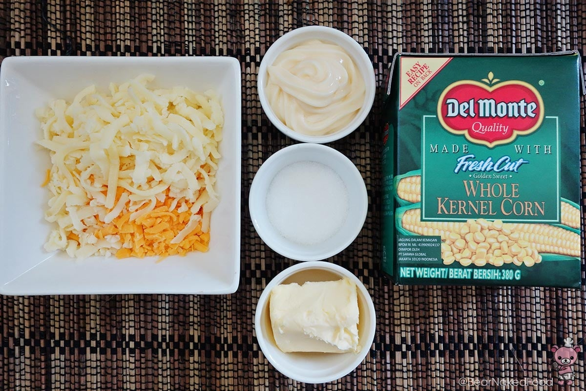 Ingredients for creamy corn cheese