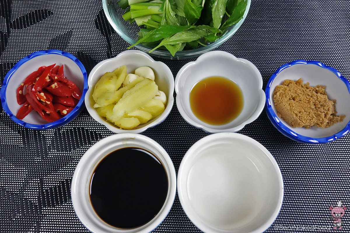 ingredients for three cup chicken
