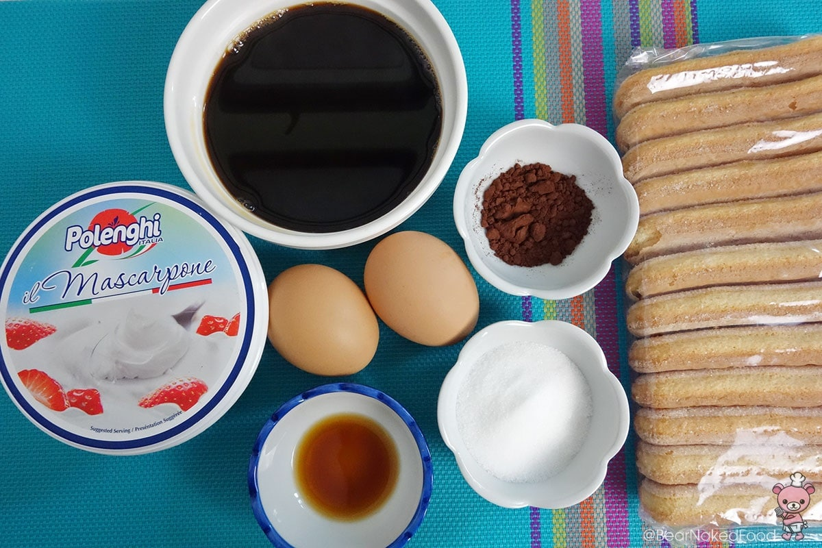 Ingredients for tiramisu in a cup