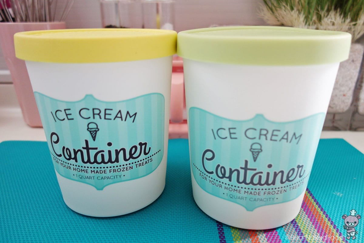 sur la table ice cream containers