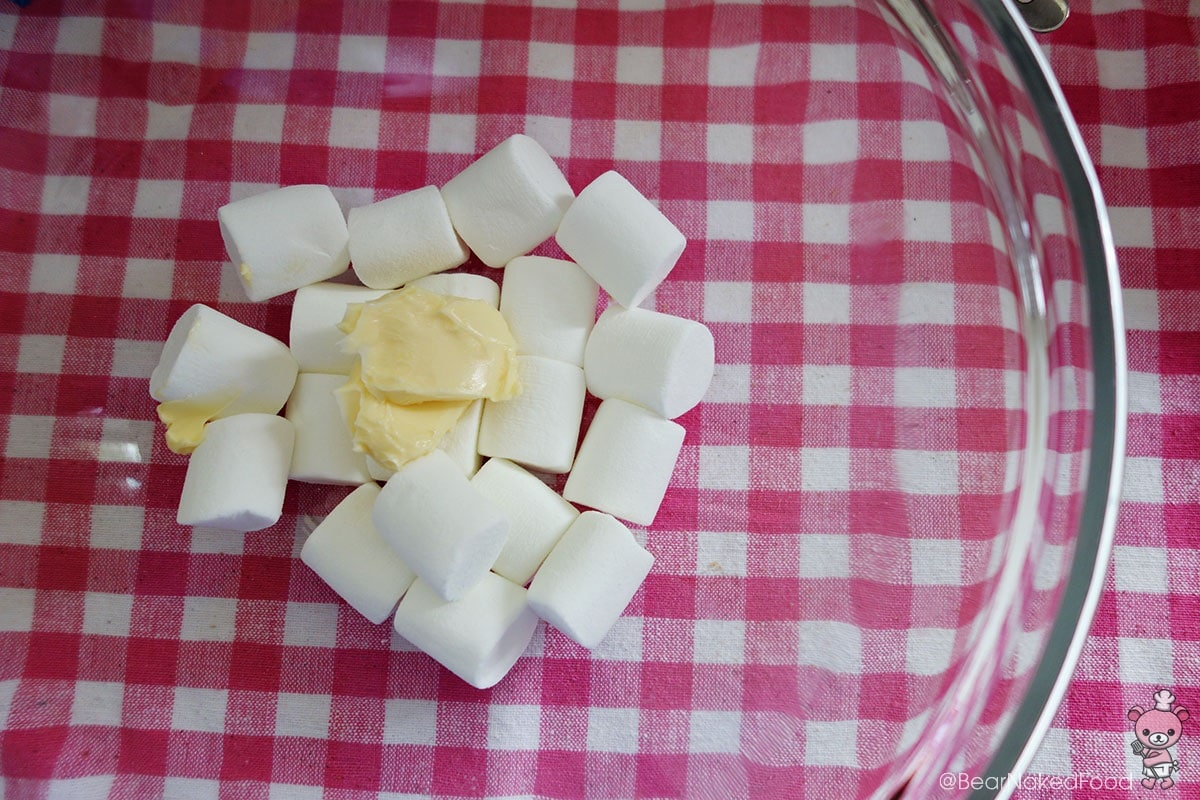 melting butter and marshmallows