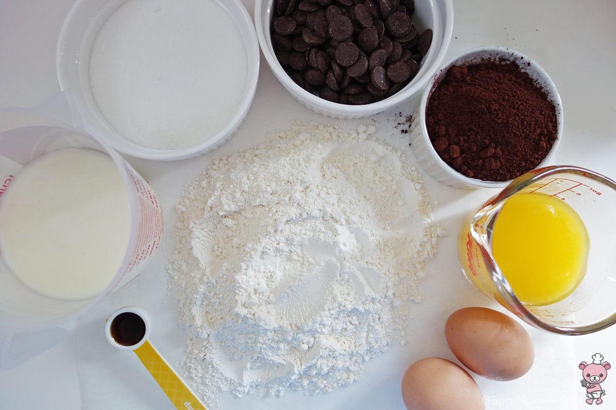 ingredients for dangerously dark chocolate muffin