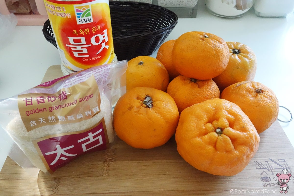 ingredients for orange jam