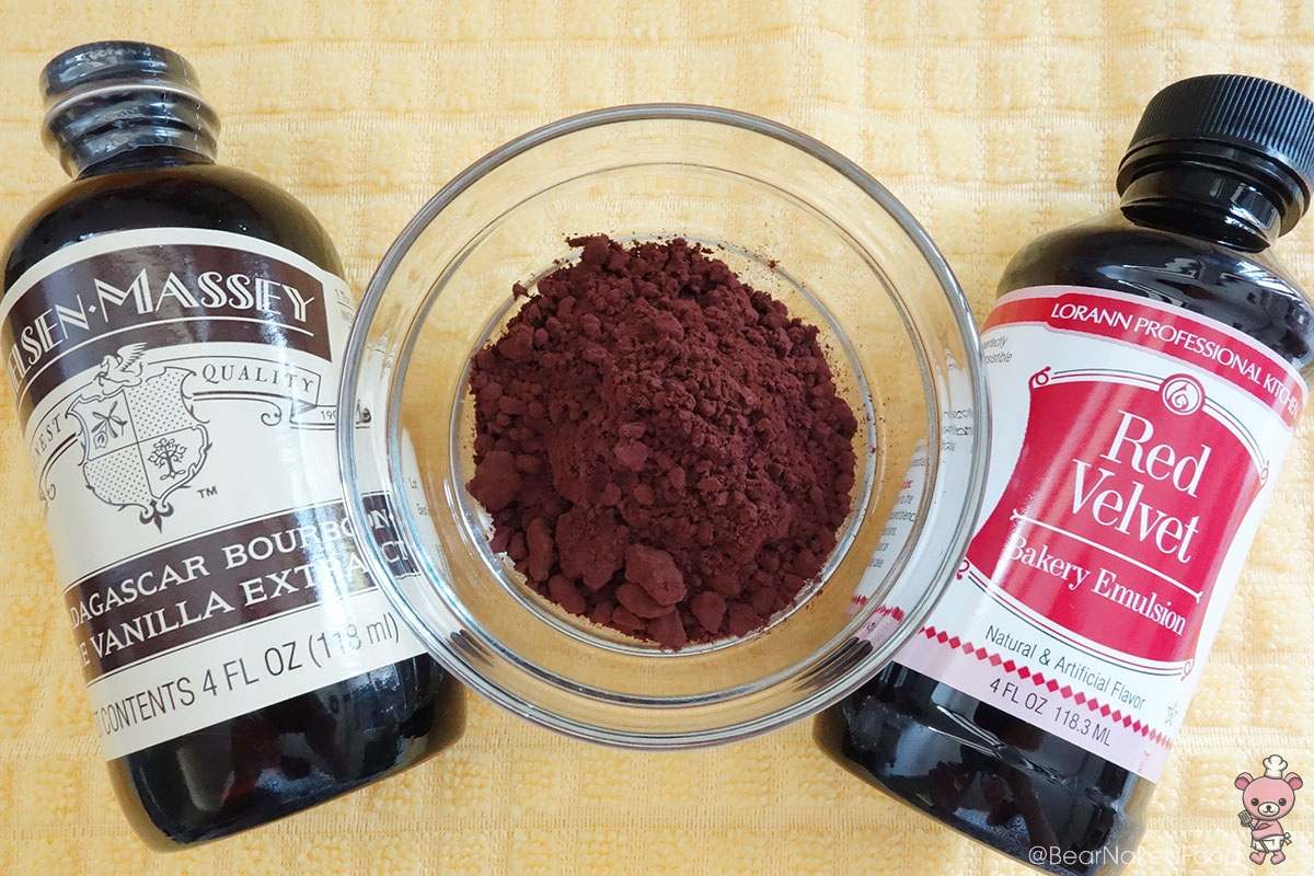 Vanilla Exract, Cocoa Powder, Red Velvet Emulsion. I got these ingredients from Kitchen Capers