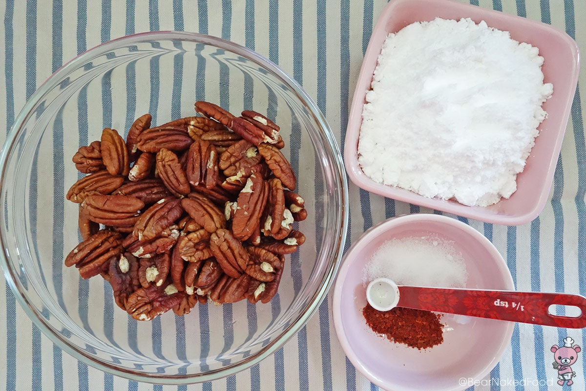 ingredients for bear naked food spicy glazed candied pecans