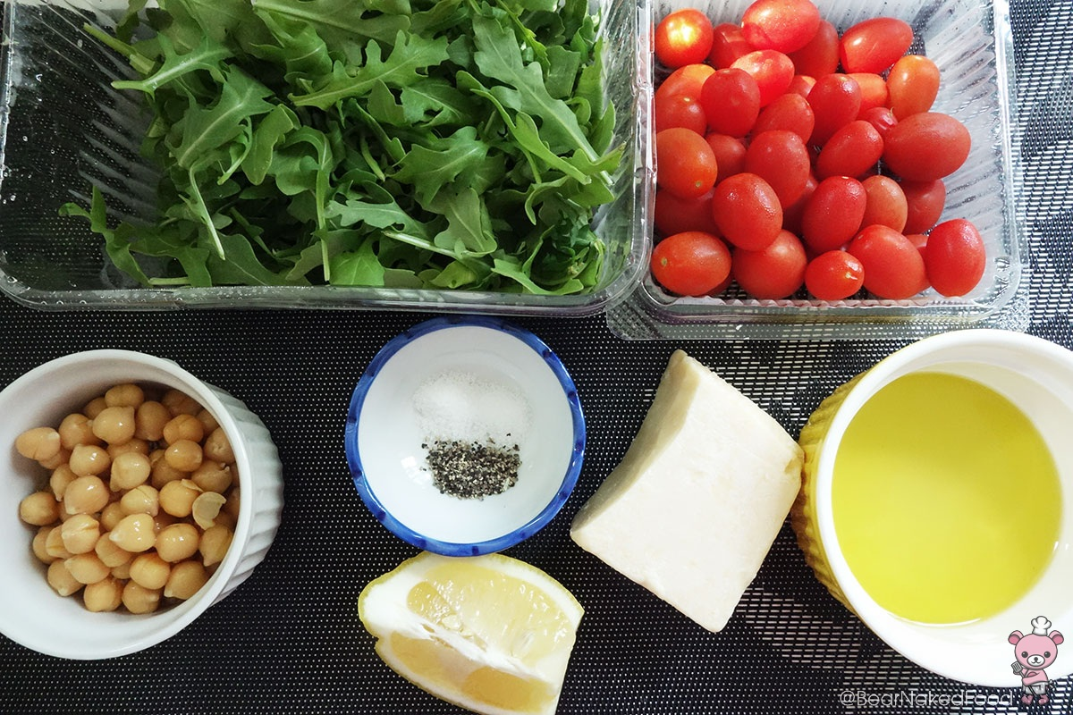 ingredients for Arugula Salad Roasted Chickpeas and Lemon Garlic Dressing