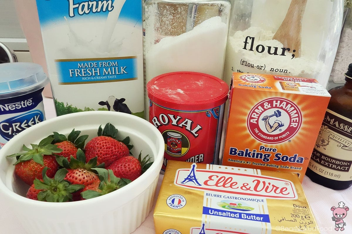 ingredients for fresh strawberry cupcakes