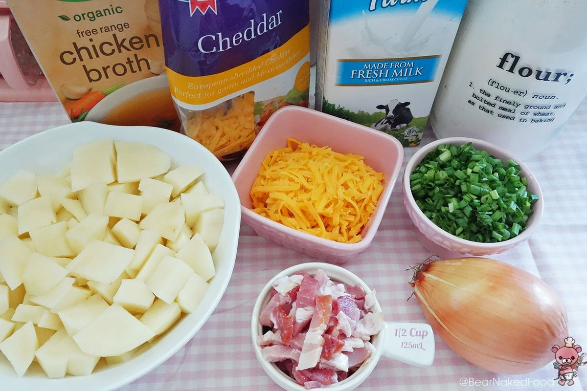 ingredients for loaded cheesy potato soup