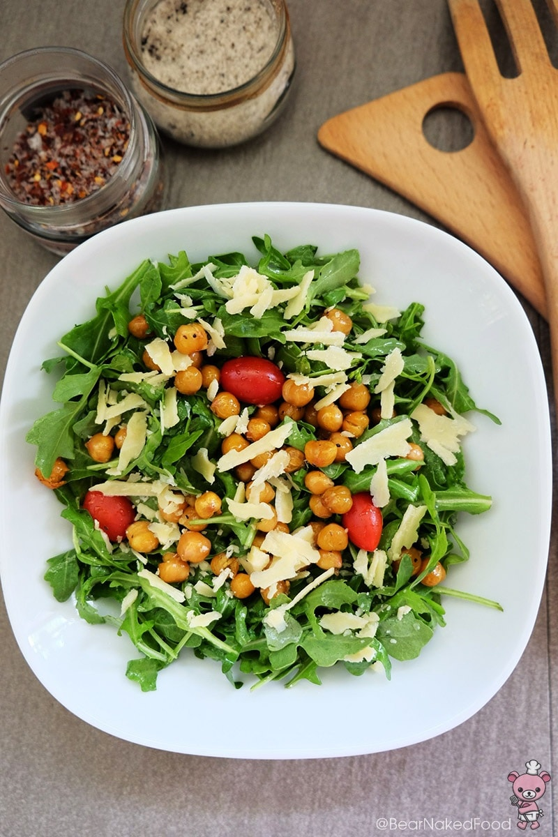 Bear Naked Food Arugula Salad Roasted Chickpeas and Lemon Garlic Dressing