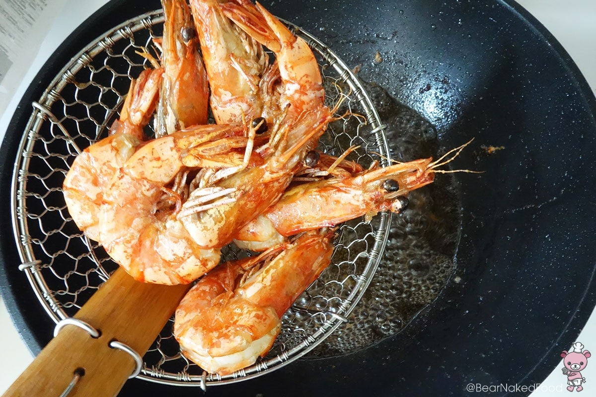 The prawns are done once they turn red.