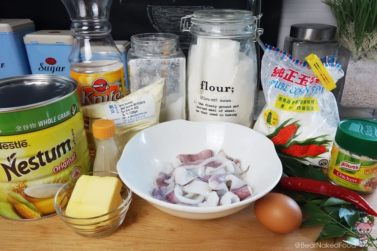 ingredients for crispy butter cereal squid