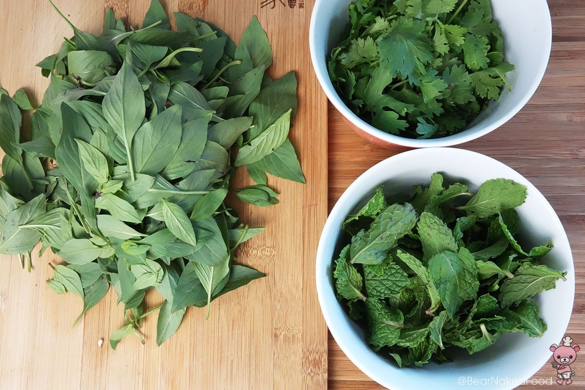 The ratio of the herbs should be 2:1:1, Thai basil leaves being the star of the show. :-)