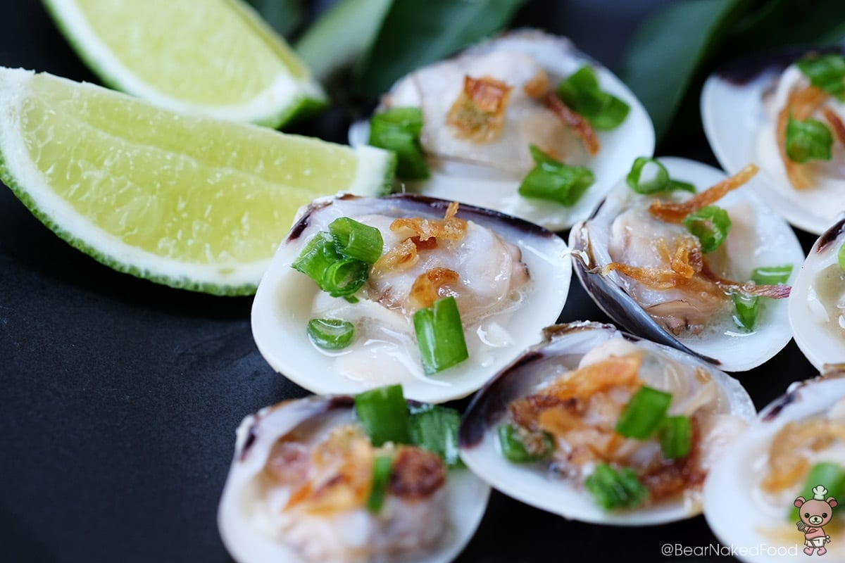 Clams with white wine, fish sauce and shallot oil