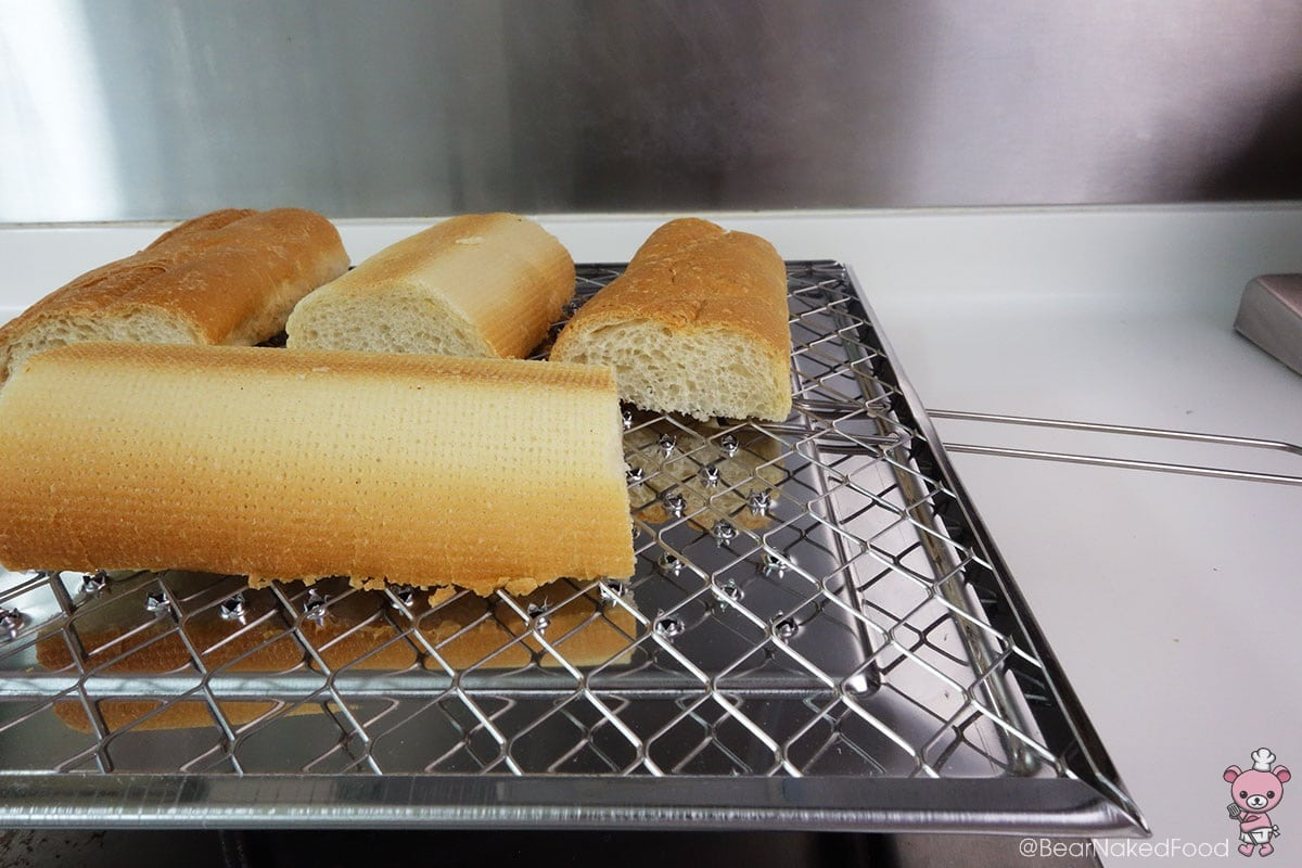 Place the bread facing down. You could use a griddle or flat pan as well.