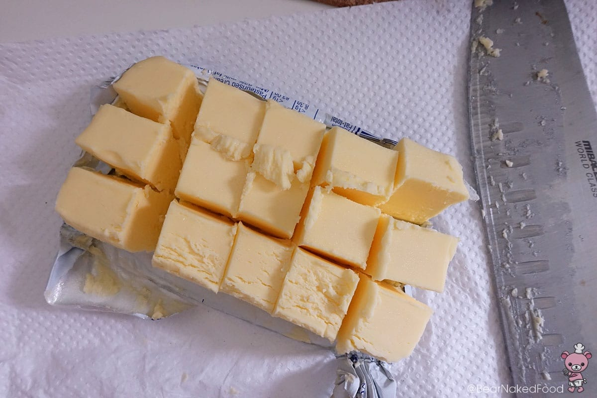 It is easier to cut your butter into cubes while they are still cold.