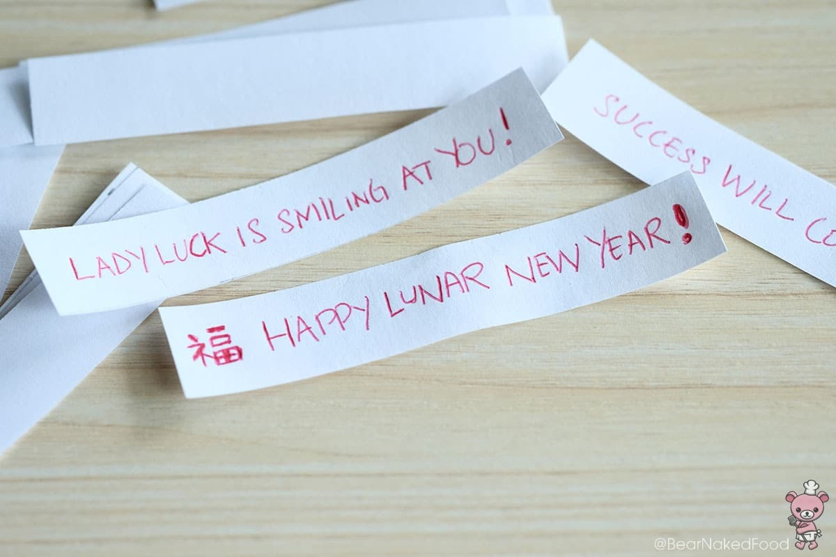 Prepare the fortune message strips before you start making the cookies.