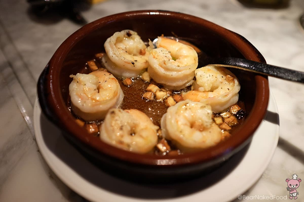 Gambas Al Ajillo (Prawn cooked with garlic chili and extra virgin olive oil, $20)