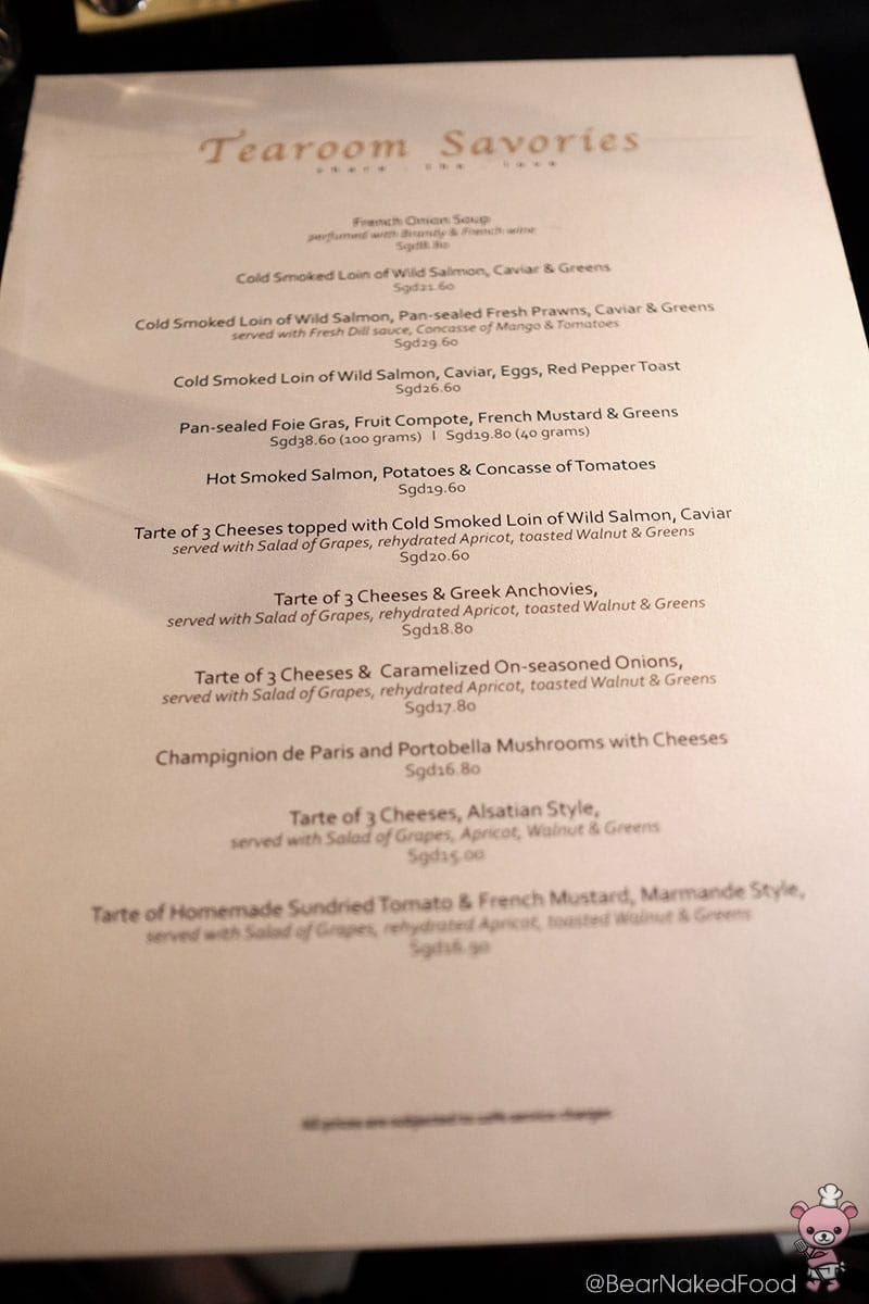 Former menu featuring mainly smoked salmon and tarte.