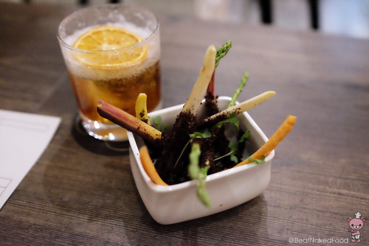 """""""Dirty Vegetable"""" Asparagus, carrots, brown butter & coffee, $10"""