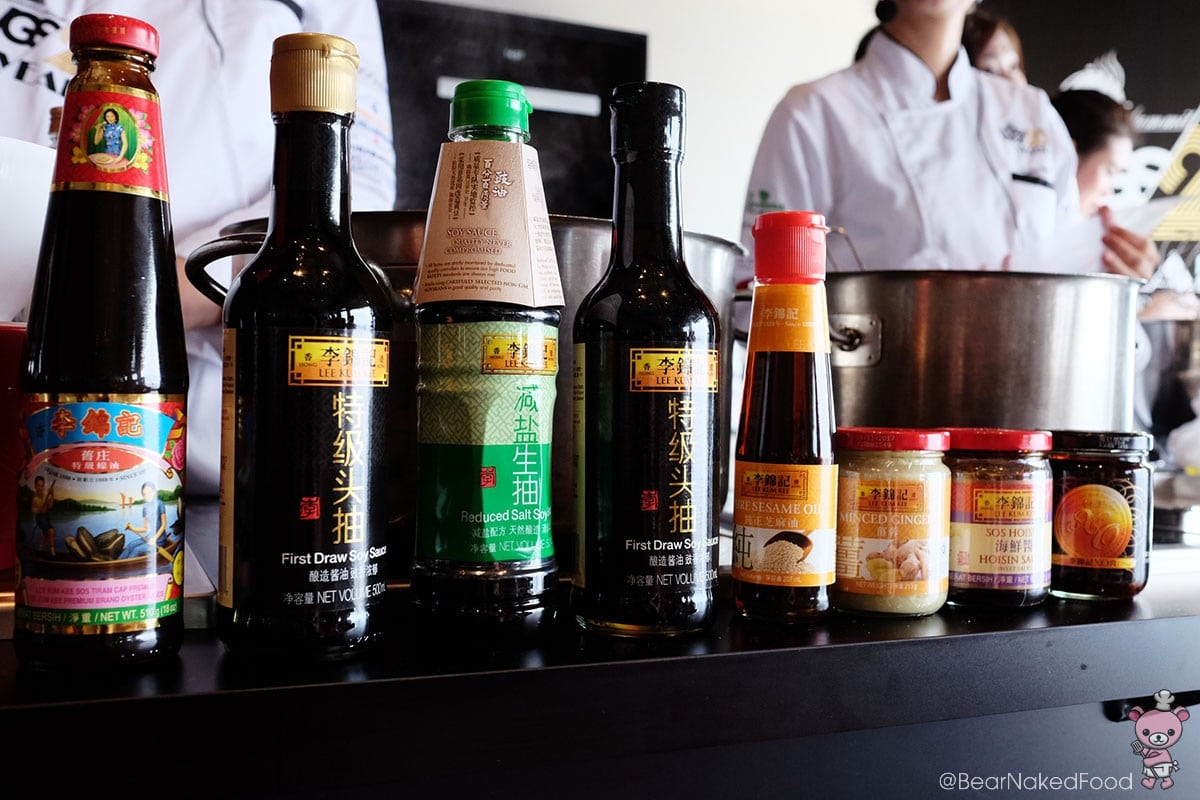 The line up of Lee Kum Kee's sauces used for that class.