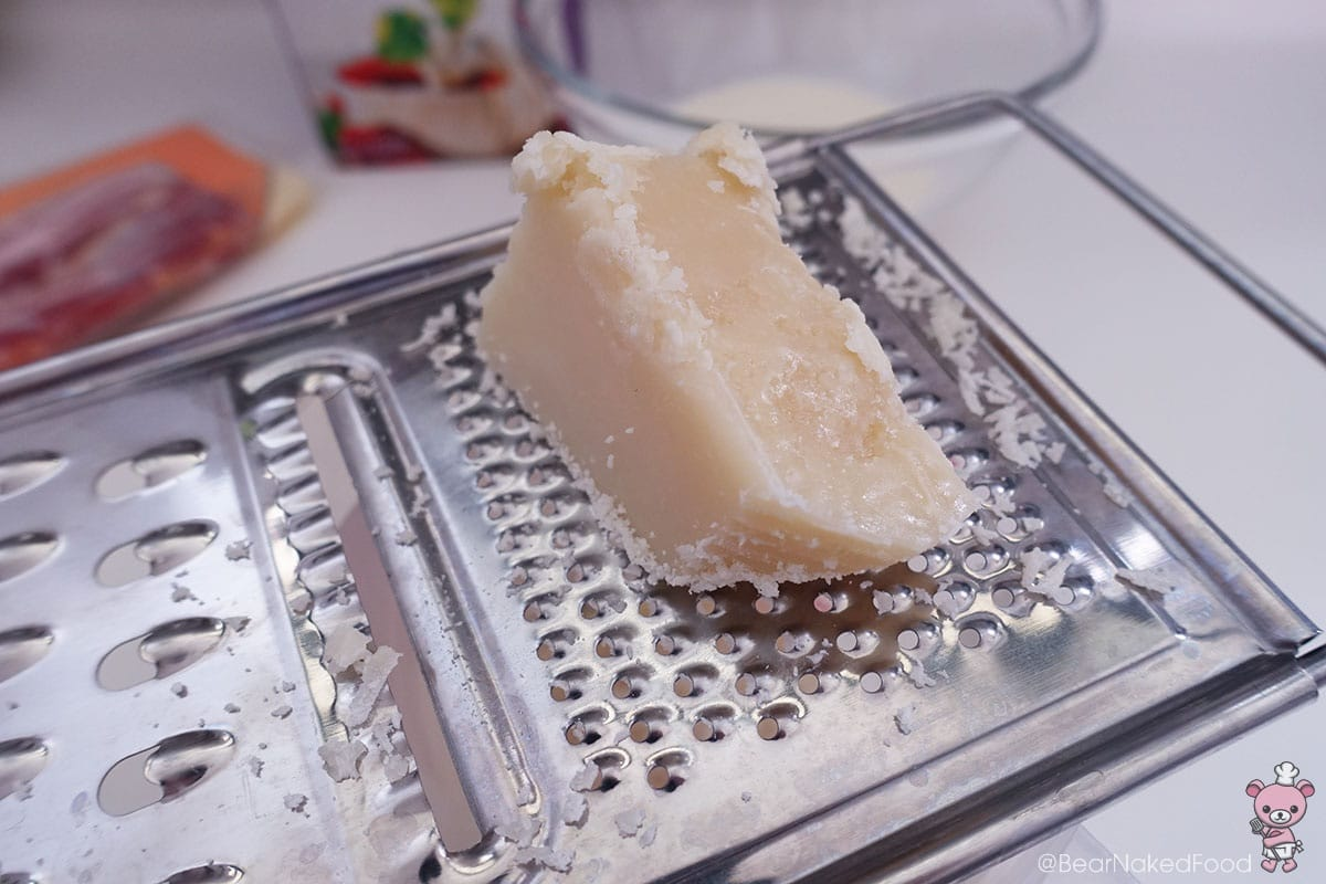 I'm grating my own parmesan cheese.