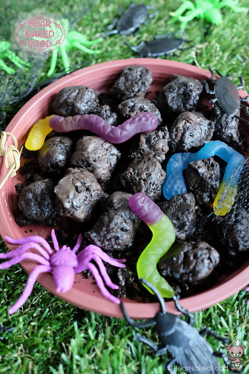 halloween recipe dirt balls with worms