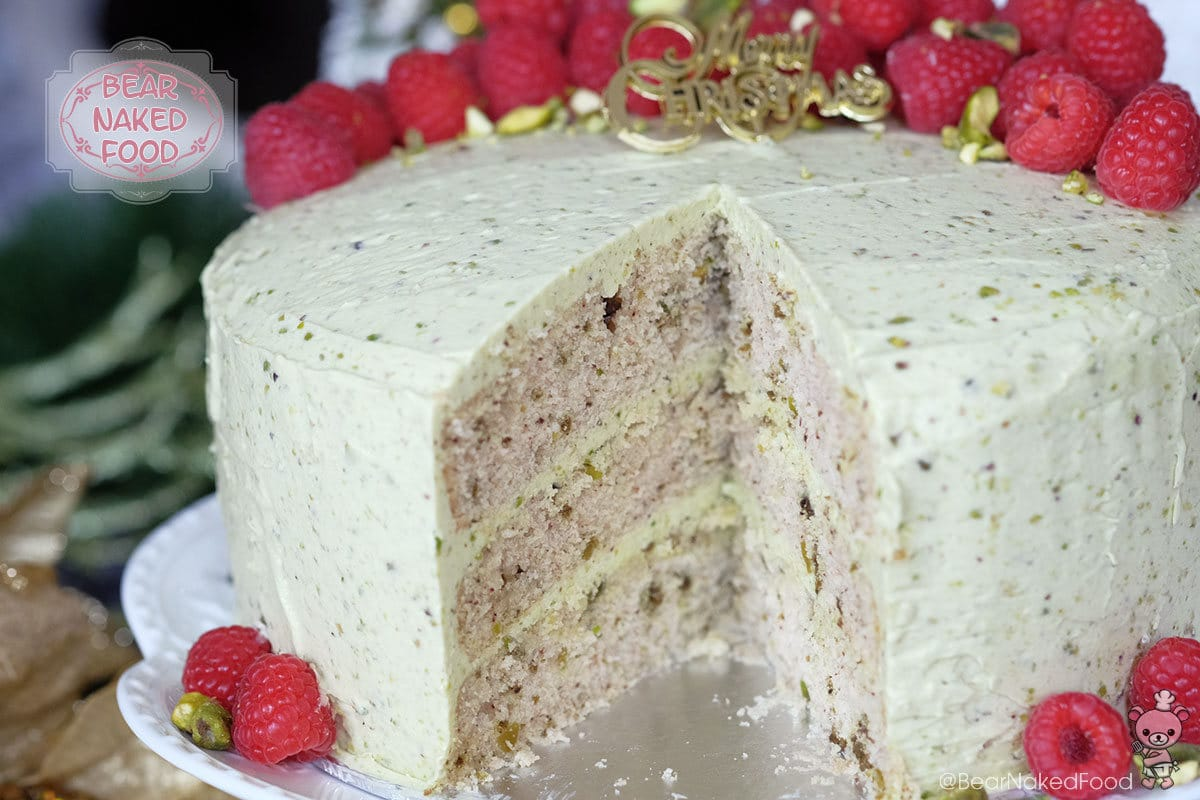 bear naked food pistachio cake with Irish buttercream