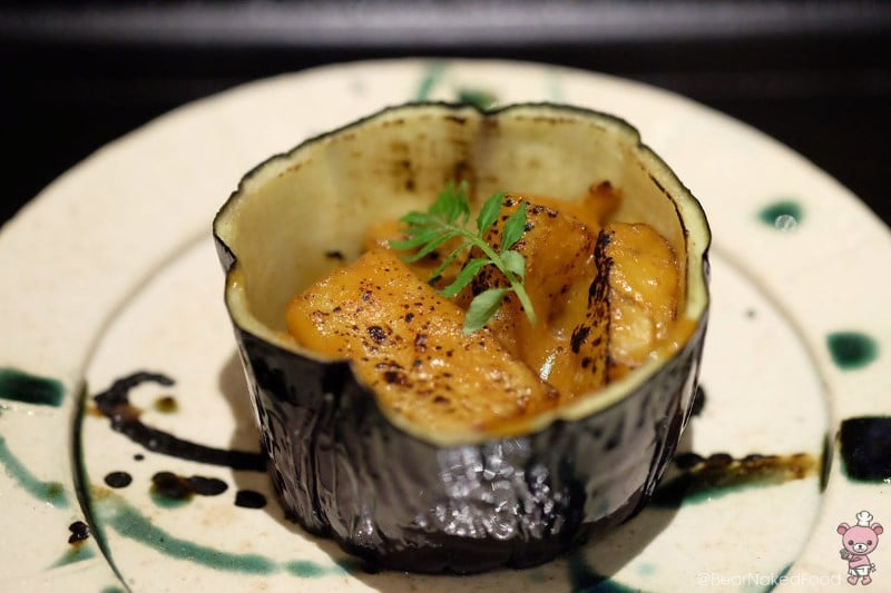 2nd appetizer: Eggplant with uni miso.