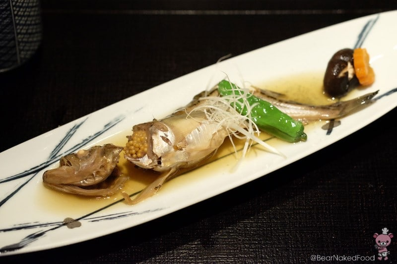 Sand fish with sake, mirin and soy sauce.