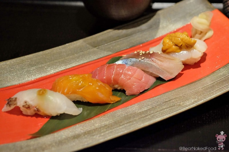 From left to right: Sea Bream, Rainbow Trout, Chutoro, Japanese Mackerel, Scallop and Hokkaido Uni.